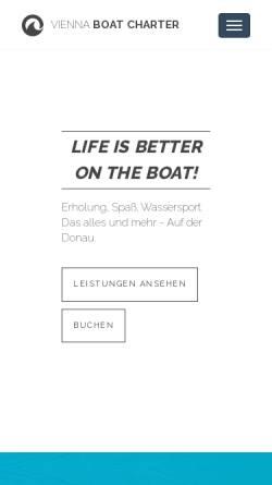 Vorschau der mobilen Webseite www.viennaboatcharter.at, Vienna Boat Charter