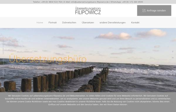 Vorschau von uebersetzungsbuero-filipowicz.de, Übersetzungsbüro Filipowicz