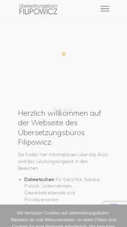 Vorschau der mobilen Webseite uebersetzungsbuero-filipowicz.de, Übersetzungsbüro Filipowicz