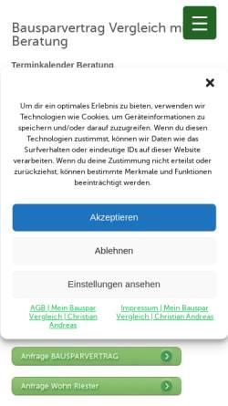 Vorschau der mobilen Webseite www.mein-bauspar-vergleich.de, Bausparvergleich von 10 Bausparkassen