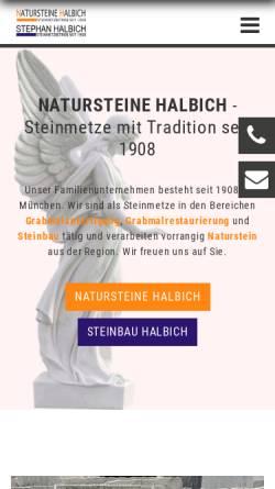 Vorschau der mobilen Webseite www.natursteine-halbich.de, Natursteine Halbich