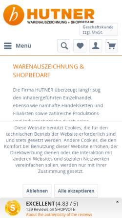 Vorschau der mobilen Webseite www.hutner-b2b.de, Hutner GmbH