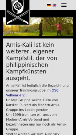 Vorschau der mobilen Webseite www.arnis-kali.de, Arnis-Kali OSC Vellmar e.V.