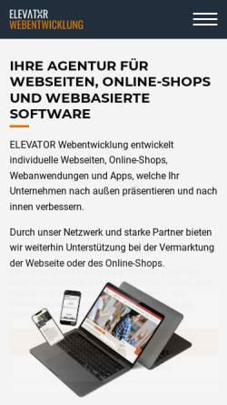 Vorschau der mobilen Webseite www.elevator-webentwicklung.de, ELEVATOR Webentwicklung