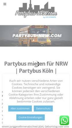Vorschau der mobilen Webseite www.partybus-nrw.com, Partybus NRW - Agentur Citievent