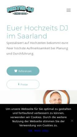 Vorschau der mobilen Webseite www.mister-dj.de, Mister DJ - Markus Müller