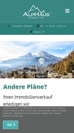 Vorschau der mobilen Webseite alphaus.immo, Alphaus Immobilien GmbH
