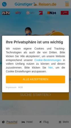 Vorschau der mobilen Webseite www.xn--gnstiger-reisen-zvb.de, Günstiger Reisen
