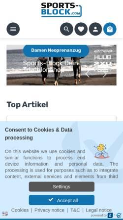 Vorschau der mobilen Webseite www.sports-block.com, Sport Block