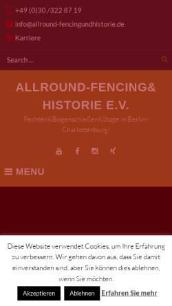 Vorschau der mobilen Webseite www.allround-fencingundhistorie.de, Allround-Fencing&Historie e.V.