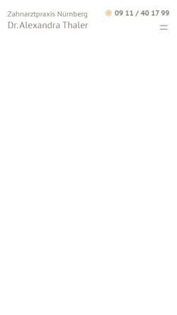 Vorschau der mobilen Webseite www.dr-alexandra-thaler.de, Zahnarzt Dr. med. dent. Alexandra Thaler