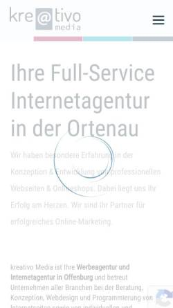 Vorschau der mobilen Webseite www.kreativo-media.de, kreativo Media