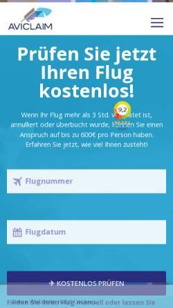 Vorschau der mobilen Webseite www.aviclaim.de, Aviclaim - ProBe ASP B.V.