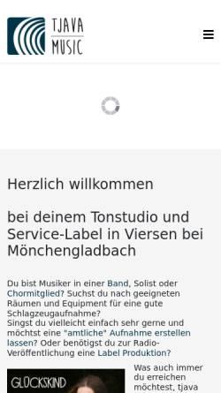 Vorschau der mobilen Webseite tjava-music.de, Tonstudio Tjava Music