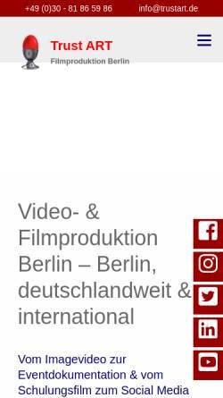 Vorschau der mobilen Webseite www.trustart.de, Trust ART Filmproduktion Berlin
