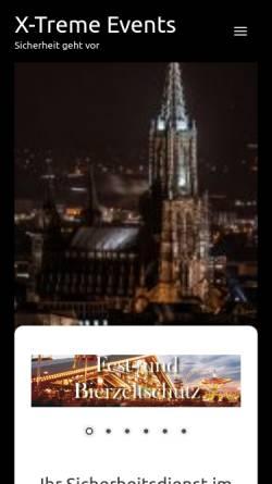 Vorschau der mobilen Webseite www.x-tremeevents.de, X-Treme Events Sicherheitsdienst