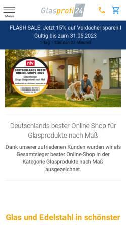 Vorschau der mobilen Webseite www.glasprofi24.de, Glasprofi24 GmbH