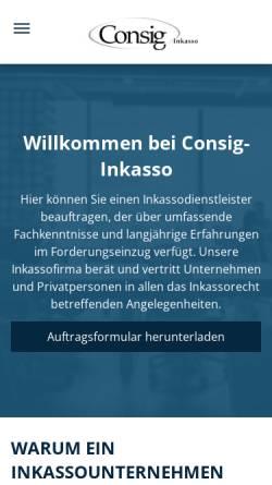 Vorschau der mobilen Webseite www.consig-inkasso.de, Consig-Inkasso