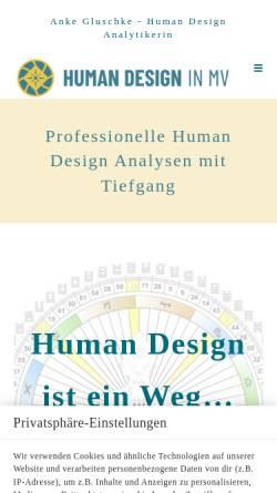 Vorschau der mobilen Webseite www.humandesign-mv.de, Anke Gluschke - Heilpraktikerin
