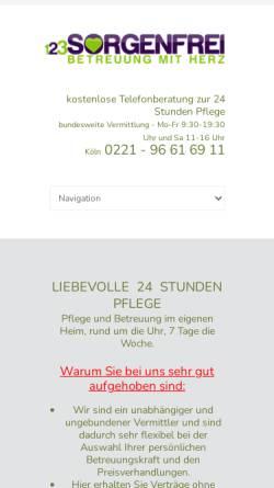 Vorschau der mobilen Webseite www.24hpflege.online, 123 sorgenfrei