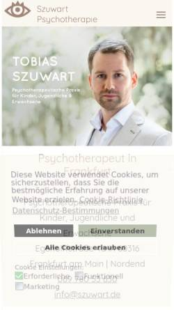 Vorschau der mobilen Webseite www.psychotherapeut-frankfurt-main.de, Psychotherapeut & Kinderpsychologe - Szuwart