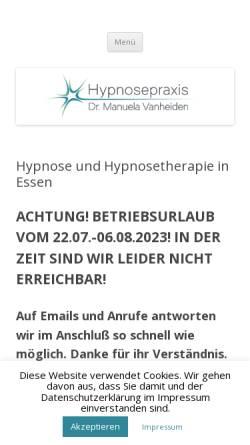Vorschau der mobilen Webseite www.hypnosezimmer.de, Hypnosepraxis Dr. Manuela Vanheiden