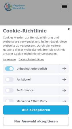 Vorschau der mobilen Webseite www.pflegedienst-himmelblau.de, Pflegedienst Himmelblau GmbH