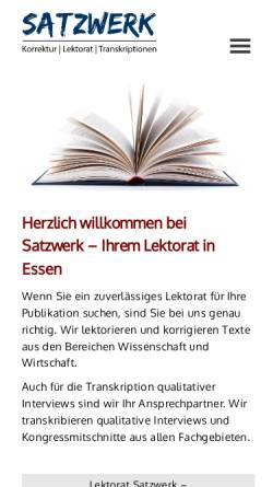 Vorschau der mobilen Webseite www.satzwerk-lektorat.de, Satzwerk - Lektorat