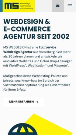 Vorschau der mobilen Webseite www.ms-webdesign.at, MS WEBDESIGN