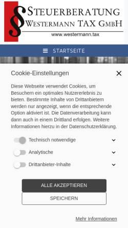 Vorschau der mobilen Webseite www.steuerberatung-westermann.de, Steuerberatung Marc Westermann