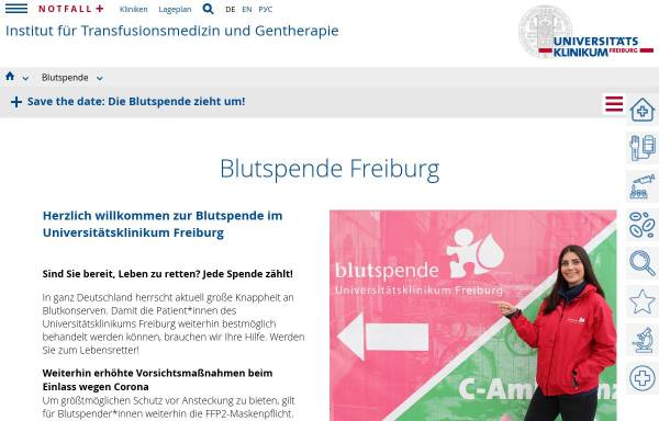 Vorschau von www.blutspende-uniklinik.de, Haus Langerhans (Blutspende)