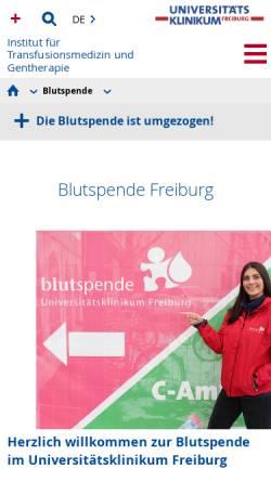 Vorschau der mobilen Webseite www.blutspende-uniklinik.de, Haus Langerhans (Blutspende)