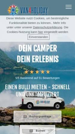 Vorschau der mobilen Webseite van4holiday.de, Van4Holiday