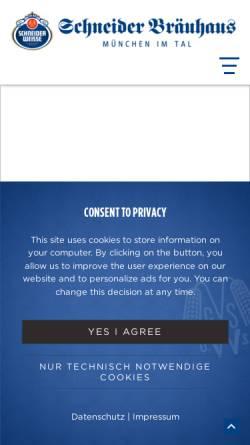 Vorschau der mobilen Webseite www.schneider-brauhaus.de, Schneider Bräuhaus