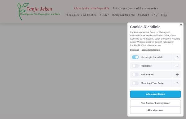 Vorschau von www.homoeopathie-jeken.de, Tanja Jeken Heilpraktikerin Klassische Homöopathie