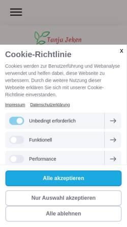 Vorschau der mobilen Webseite www.homoeopathie-jeken.de, Tanja Jeken Heilpraktikerin Klassische Homöopathie