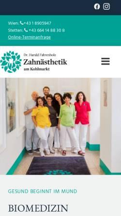 Vorschau der mobilen Webseite www.zahnaesthetik-wien.at, Zahnästhetik am Kohlmarkt - Zahnarztpraxis Dr. Harald Fahrenholz