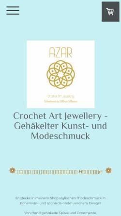 Vorschau der mobilen Webseite www.azarbymm.com, AZAR by MM Crochet Art Jewellery