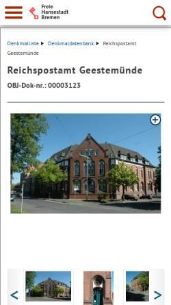 Vorschau der mobilen Webseite denkmalpflege.bremen.de, Revier Geestemünde