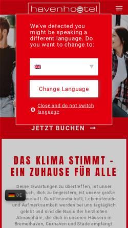 Vorschau der mobilen Webseite www.havenhostel.de, havenhostel Bremerhaven