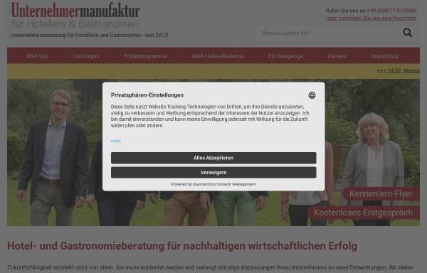 Vorschau von www.unternehmer-manufaktur.com, Unternehmermanufaktur für Hoteliers und Gastronomen GmbH