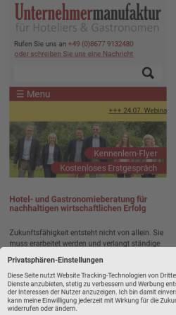 Vorschau der mobilen Webseite www.unternehmer-manufaktur.com, Unternehmermanufaktur für Hoteliers und Gastronomen GmbH