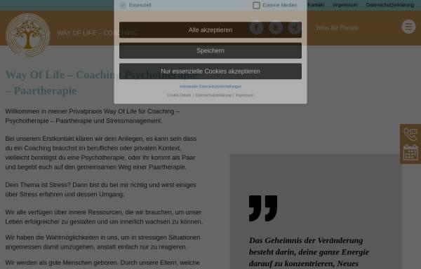 Vorschau von www.wayoflife-coaching.de, Praxis Way Of Life - Coaching - Heilpraktikerin für Psychotherapie und Geprüfte Psychologische Beraterin ( VFP ) in München
