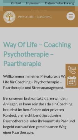 Vorschau der mobilen Webseite www.wayoflife-coaching.de, Praxis Way Of Life - Coaching - Heilpraktikerin für Psychotherapie und Geprüfte Psychologische Beraterin ( VFP ) in München