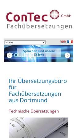 Vorschau der mobilen Webseite www.contec-fachuebersetzungen.de, ConTec Fachübersetzungen GmbH
