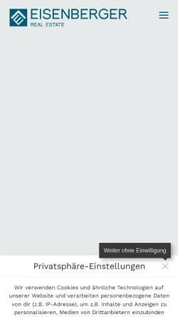 Vorschau der mobilen Webseite eisenberger-realestate.de, Eisenberger Real Estate GmbH