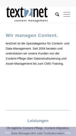 Vorschau der mobilen Webseite www.text2net.de, text2net GmbH