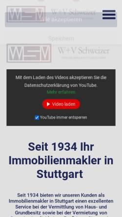 Vorschau der mobilen Webseite www.schweizer-immobilien.de, W+V Schweizer Immobilienvermittlung