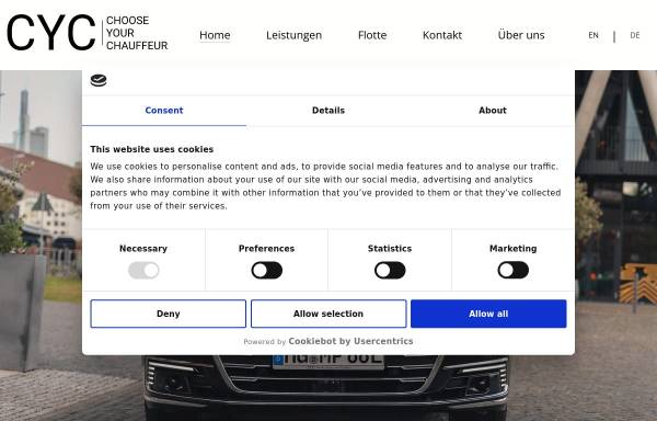 Vorschau von www.chooseyourchauffeur.com, CYC Choose Your Chauffeur