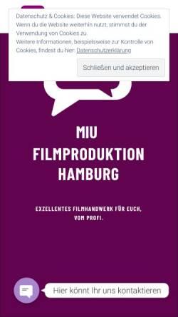 Vorschau der mobilen Webseite www.miu-filmproduktion.de, Miu Filmproduktion Hamburg